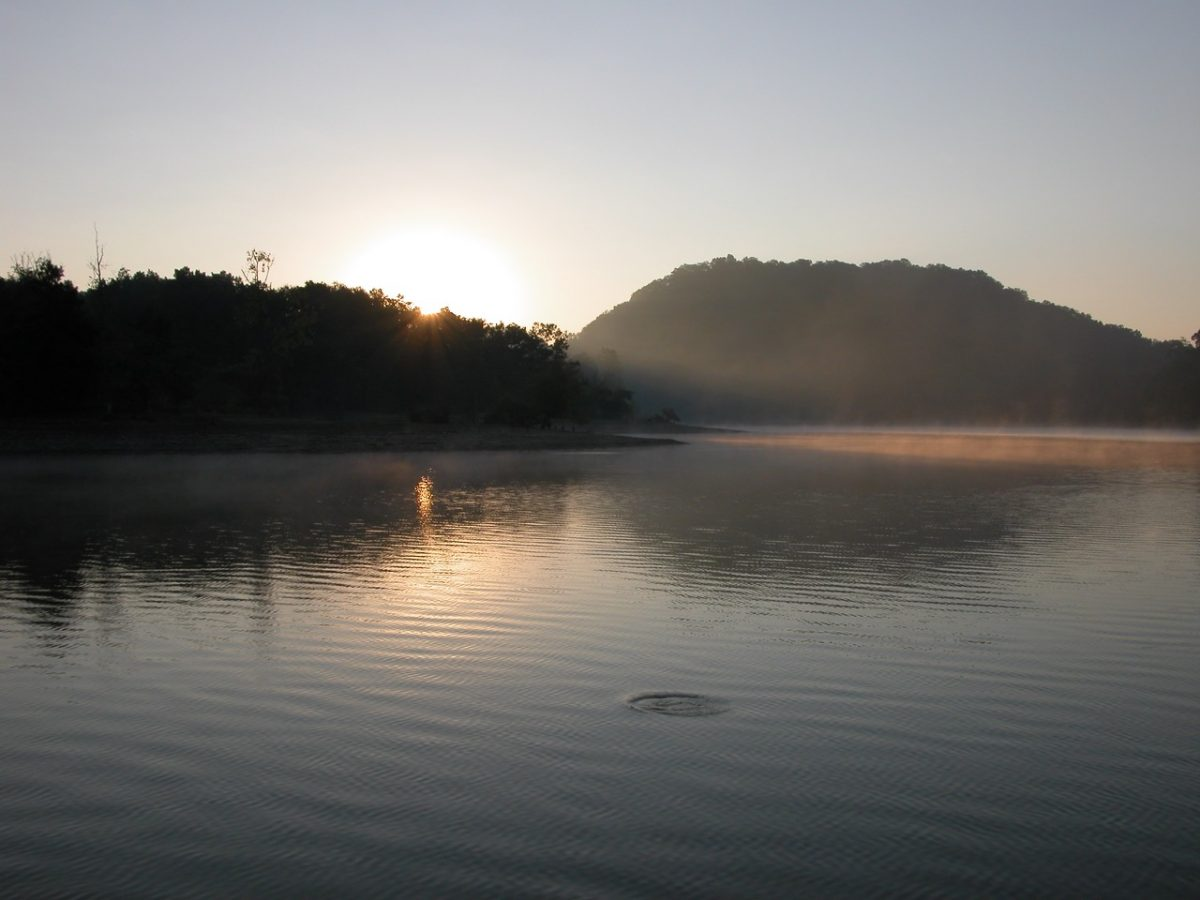 Sun rising over the fog-covered shores of Dale Hollow Lake.